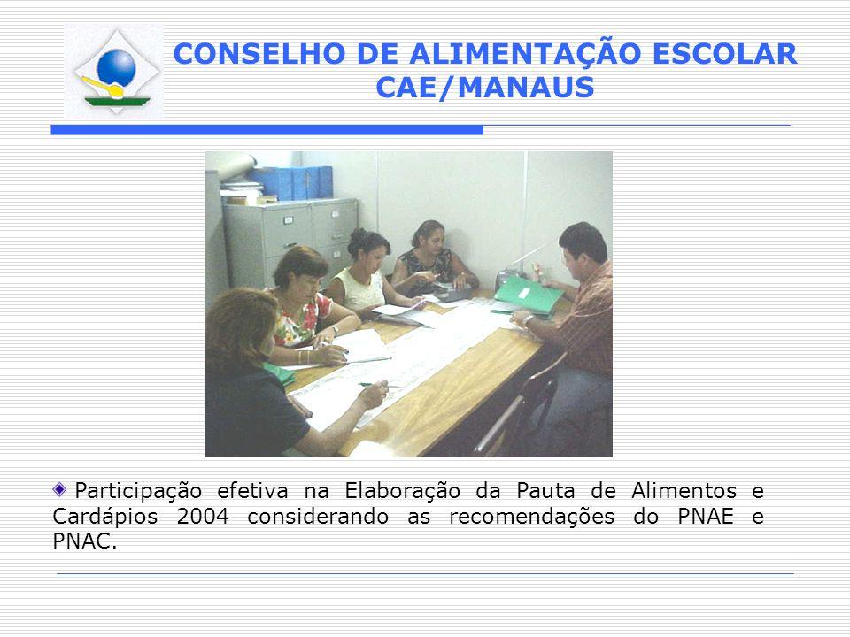 Participação efetiva na Elaboração da Pauta de Alimentos e Cardápios 2004 considerando as recomendações do PNAE e PNAC.