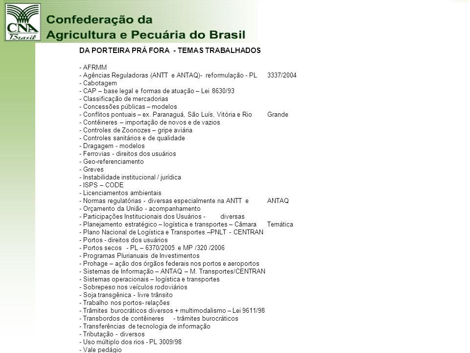 DA PORTEIRA PRÁ FORA - TEMAS TRABALHADOS. - AFRMM