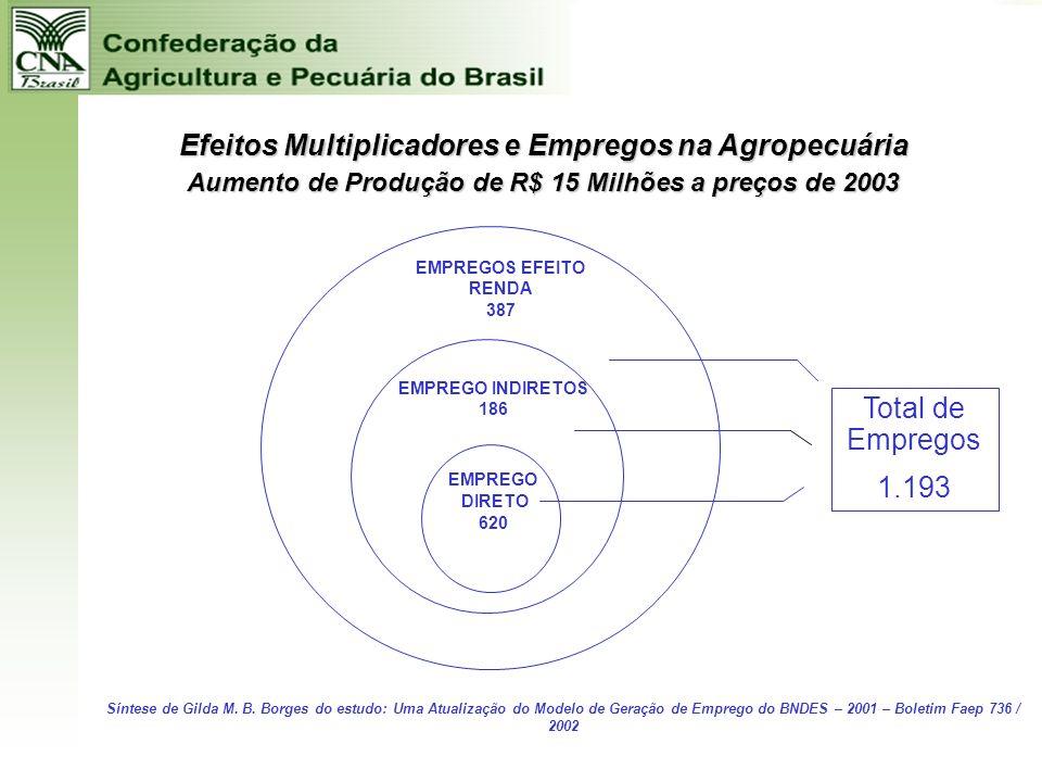 Efeitos Multiplicadores e Empregos na Agropecuária
