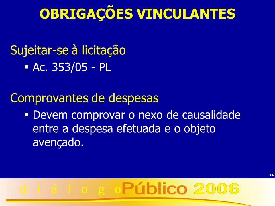 OBRIGAÇÕES VINCULANTES