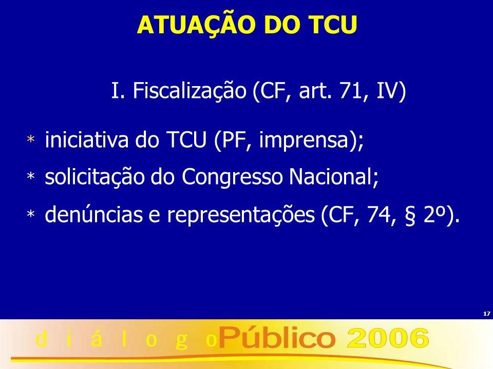 I. Fiscalização (CF, art. 71, IV)