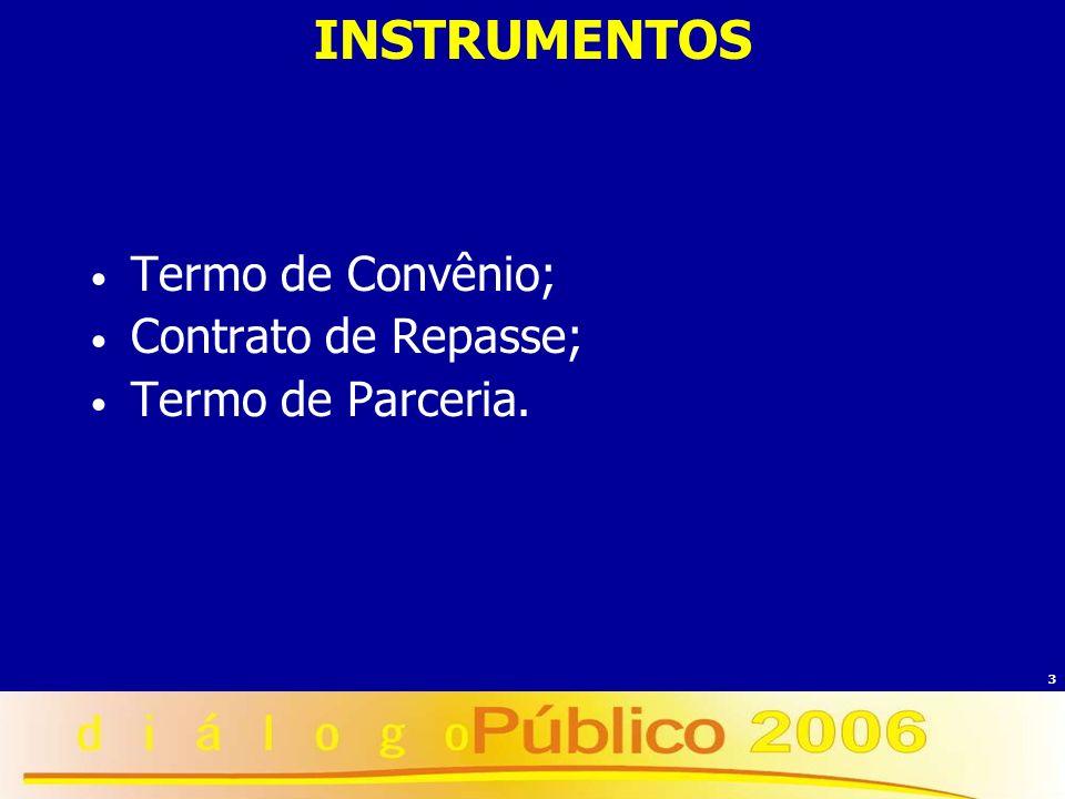 INSTRUMENTOS Termo de Convênio; Contrato de Repasse;