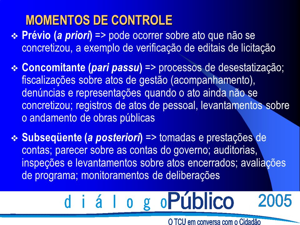 MOMENTOS DE CONTROLE Prévio (a priori) => pode ocorrer sobre ato que não se concretizou, a exemplo de verificação de editais de licitação.
