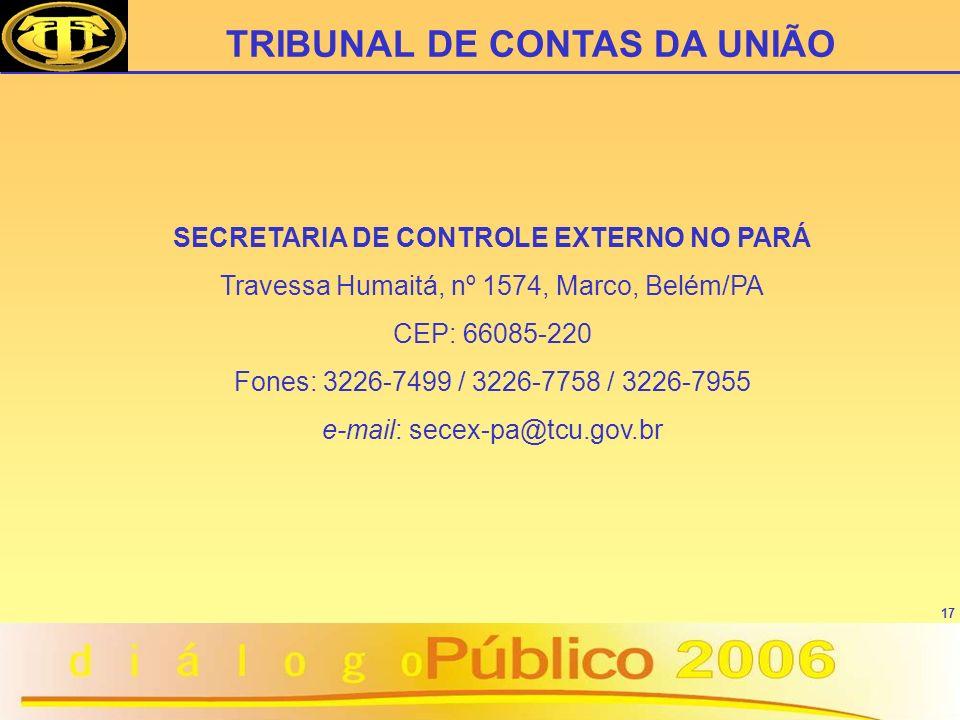 SECRETARIA DE CONTROLE EXTERNO NO PARÁ