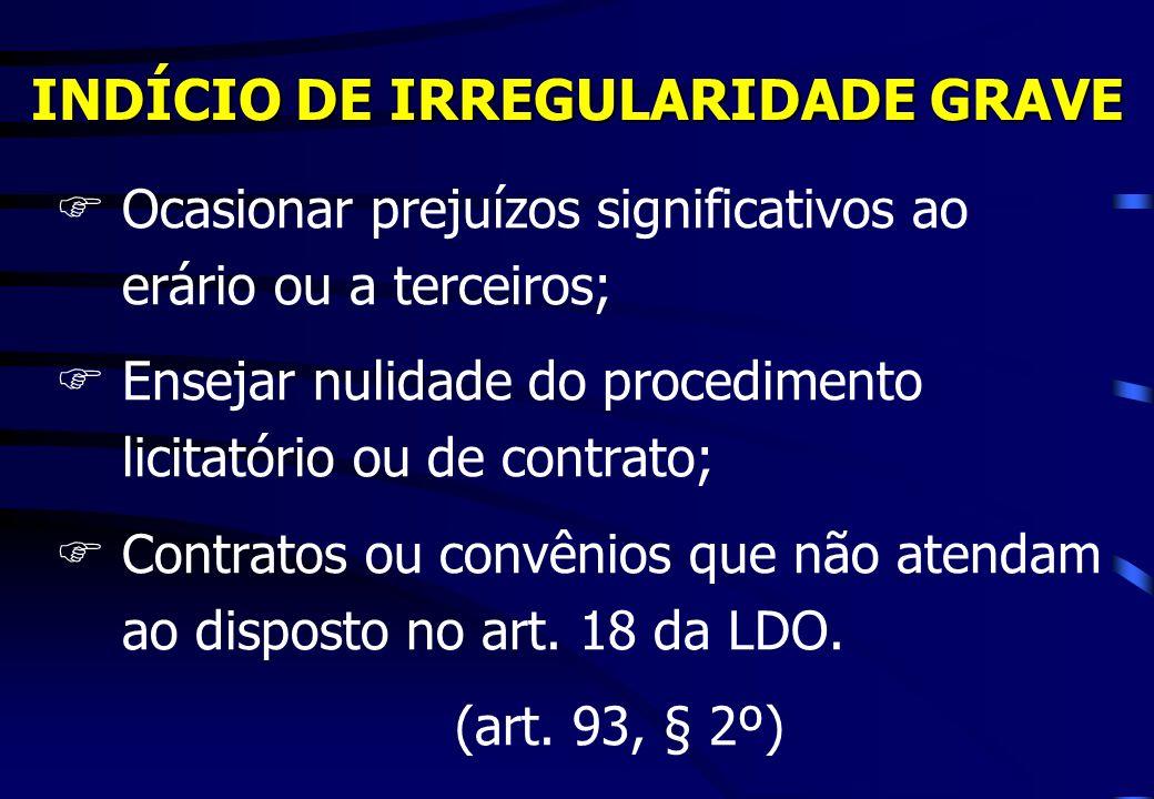 INDÍCIO DE IRREGULARIDADE GRAVE