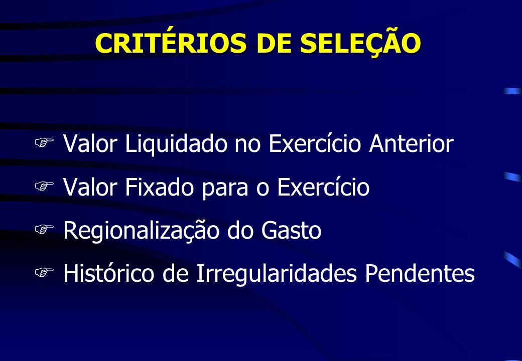 CRITÉRIOS DE SELEÇÃO Valor Liquidado no Exercício Anterior