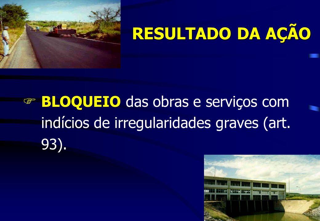 RESULTADO DA AÇÃO BLOQUEIO das obras e serviços com indícios de irregularidades graves (art. 93).