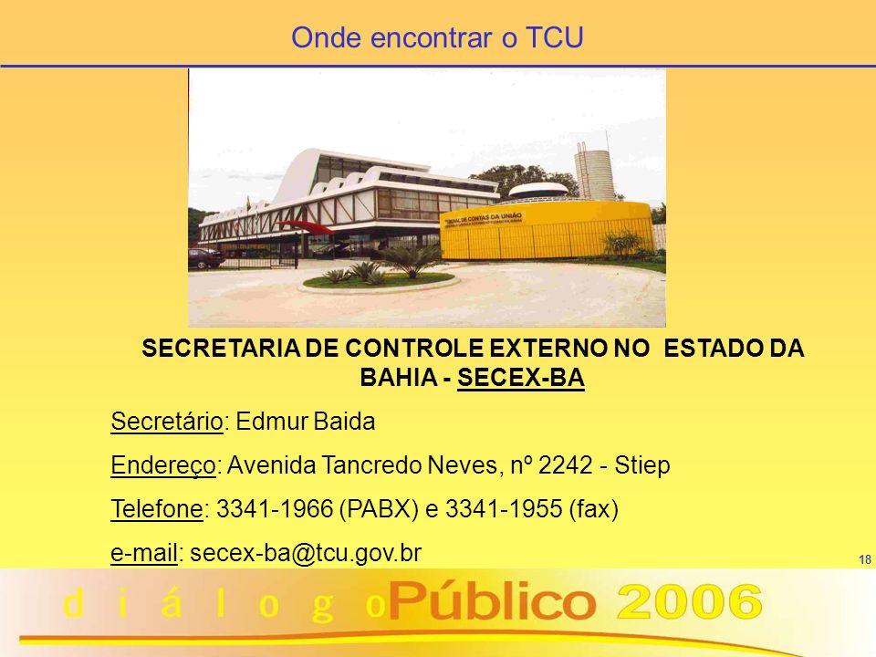 SECRETARIA DE CONTROLE EXTERNO NO ESTADO DA BAHIA - SECEX-BA
