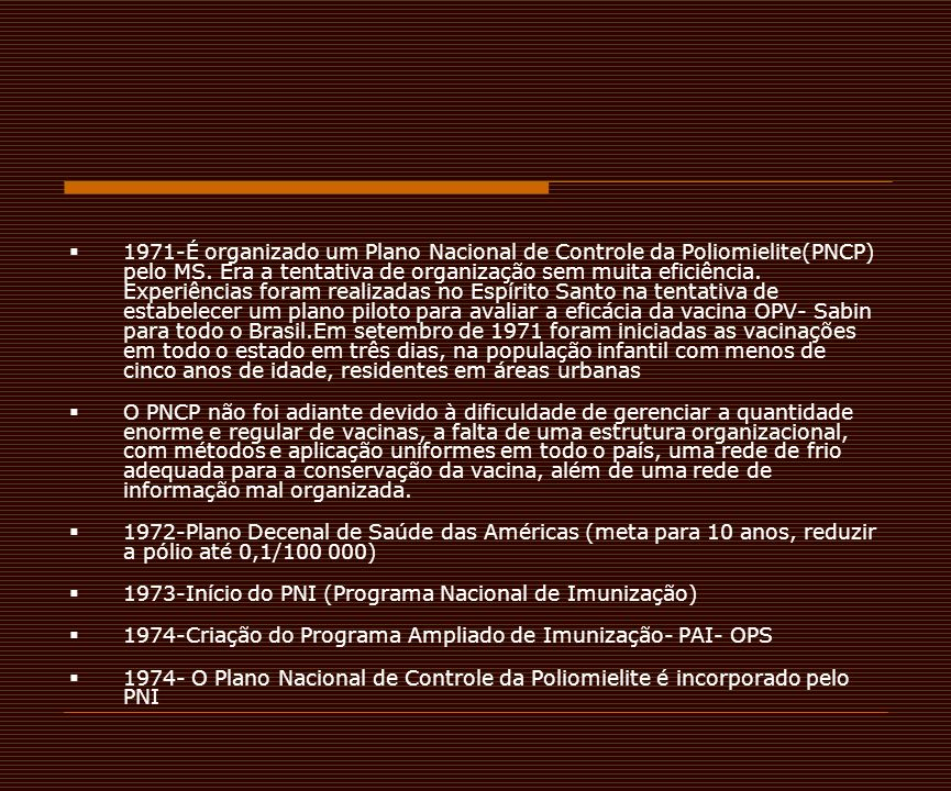 1971-É organizado um Plano Nacional de Controle da Poliomielite(PNCP) pelo MS. Era a tentativa de organização sem muita eficiência. Experiências foram realizadas no Espírito Santo na tentativa de estabelecer um plano piloto para avaliar a eficácia da vacina OPV- Sabin para todo o Brasil.Em setembro de 1971 foram iniciadas as vacinações em todo o estado em três dias, na população infantil com menos de cinco anos de idade, residentes em áreas urbanas