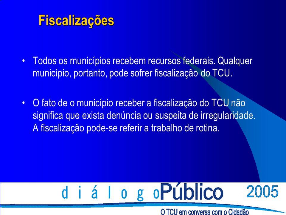 Fiscalizações Todos os municípios recebem recursos federais. Qualquer município, portanto, pode sofrer fiscalização do TCU.