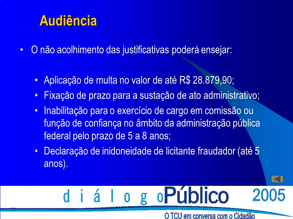 Audiência O não acolhimento das justificativas poderá ensejar: