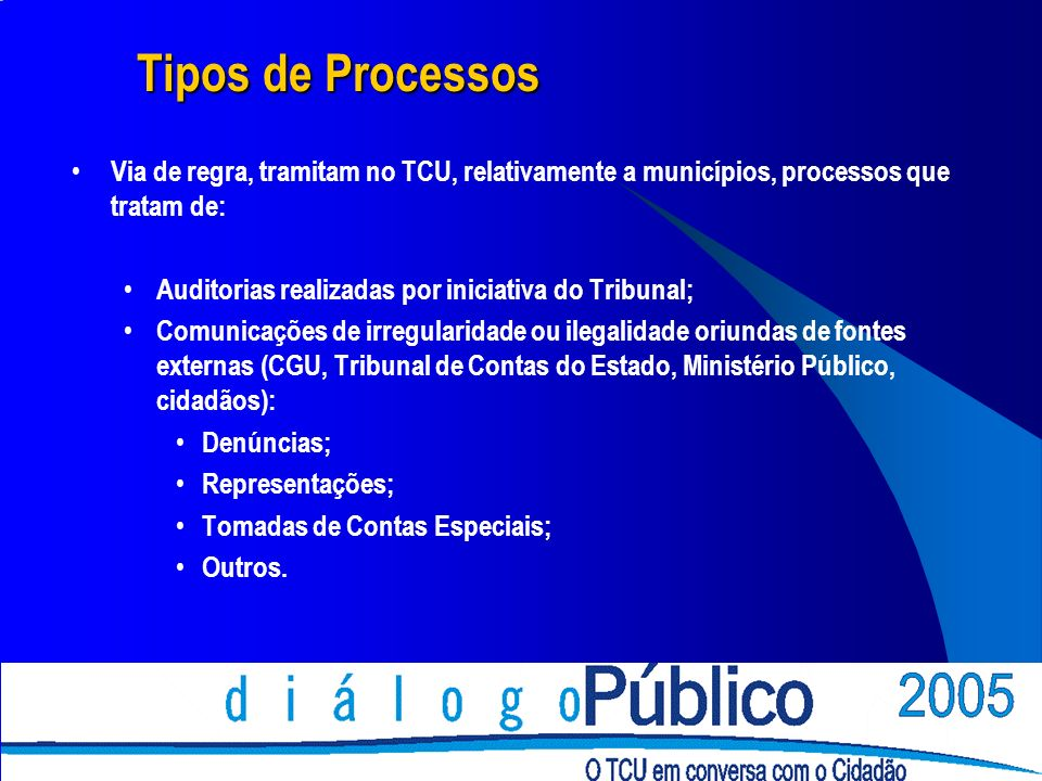 Tipos de Processos Via de regra, tramitam no TCU, relativamente a municípios, processos que tratam de: