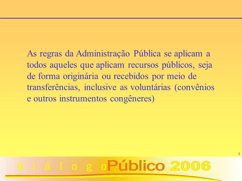 As regras da Administração Pública se aplicam a todos aqueles que aplicam recursos públicos, seja de forma originária ou recebidos por meio de transferências, inclusive as voluntárias (convênios e outros instrumentos congêneres)