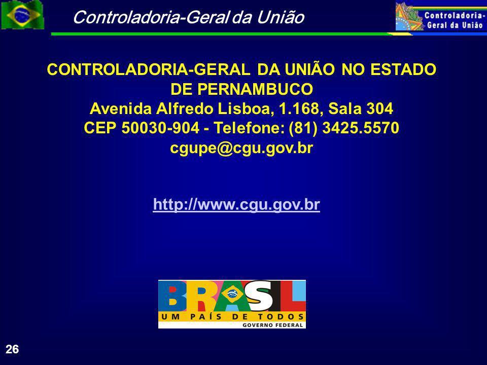 CONTROLADORIA-GERAL DA UNIÃO NO ESTADO DE PERNAMBUCO