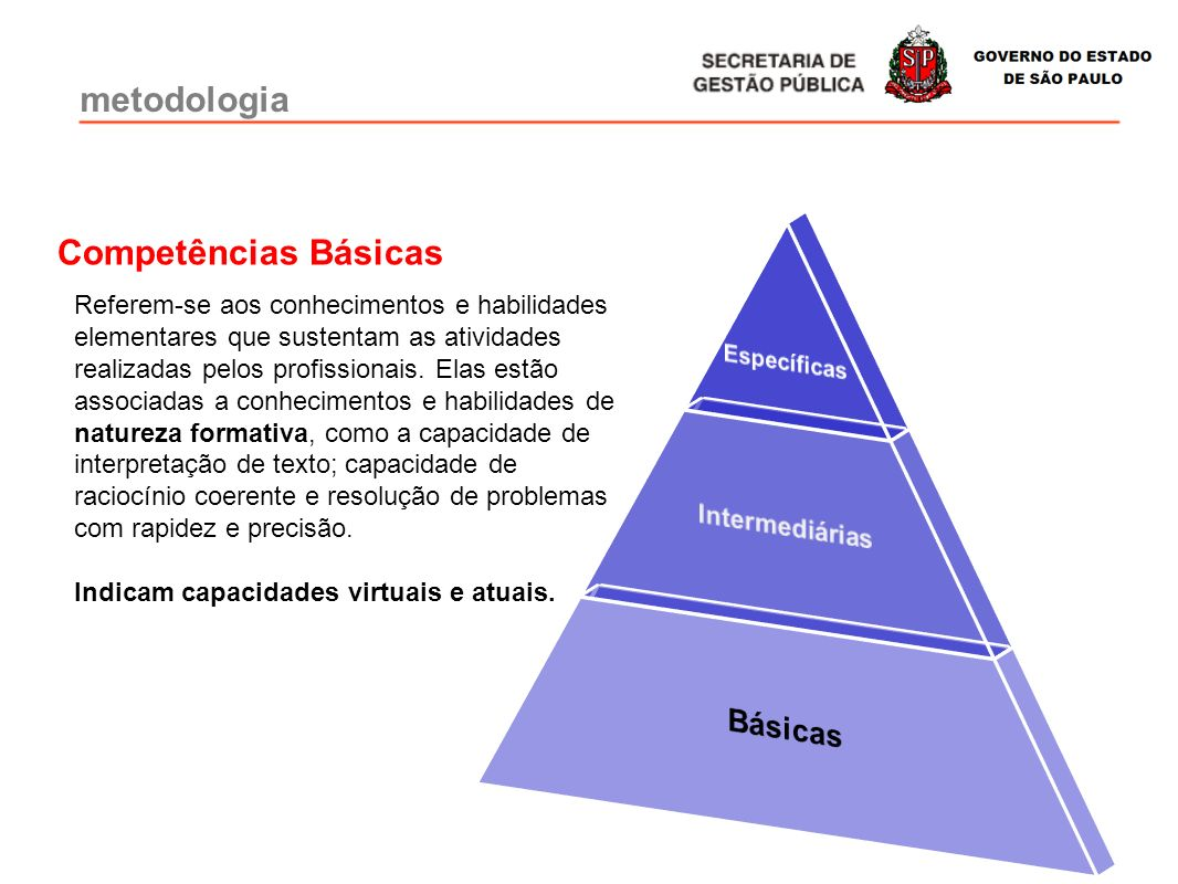 metodologia Básicas Competências Básicas Intermediárias Específicas