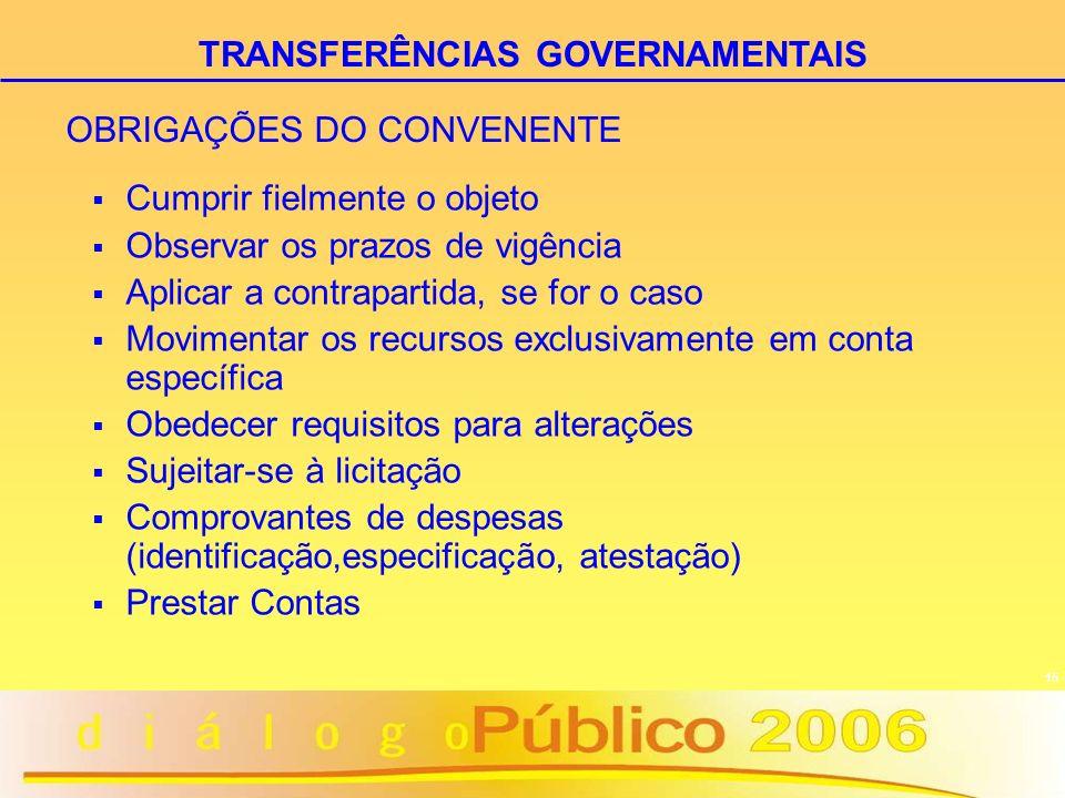 OBRIGAÇÕES DO CONVENENTE