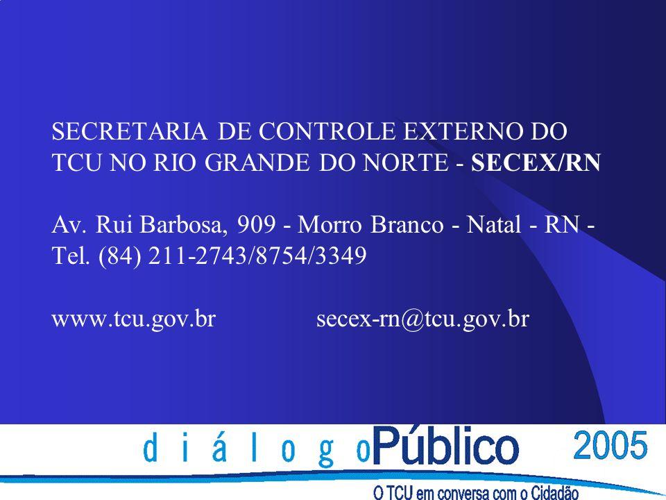 SECRETARIA DE CONTROLE EXTERNO DO TCU NO RIO GRANDE DO NORTE - SECEX/RN Av.