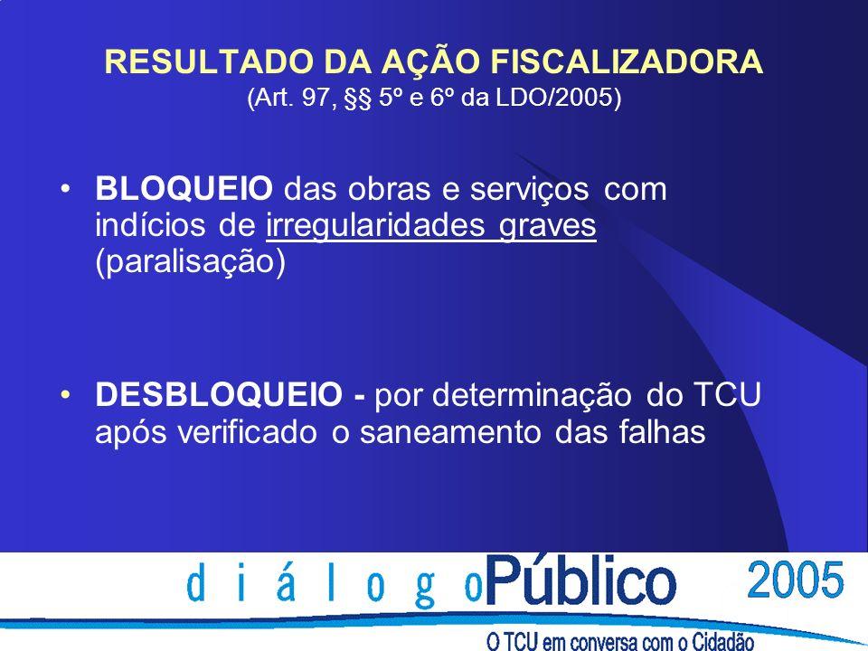 RESULTADO DA AÇÃO FISCALIZADORA (Art. 97, §§ 5º e 6º da LDO/2005)