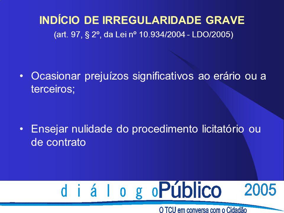 INDÍCIO DE IRREGULARIDADE GRAVE (art. 97, § 2º, da Lei nº 10