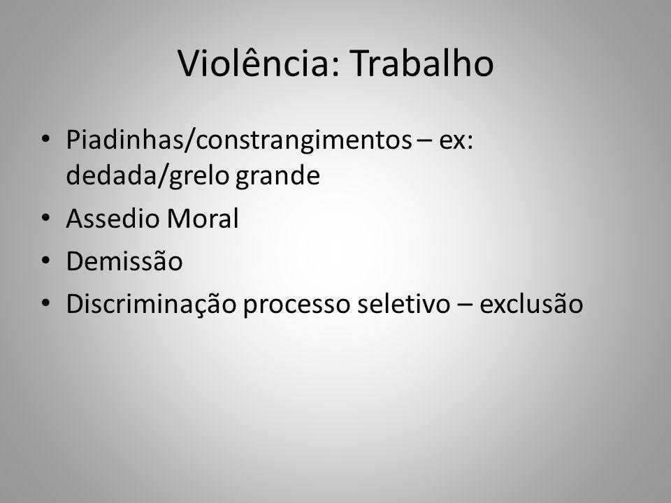 Violência: Trabalho Piadinhas/constrangimentos – ex: dedada/grelo grande. Assedio Moral. Demissão.