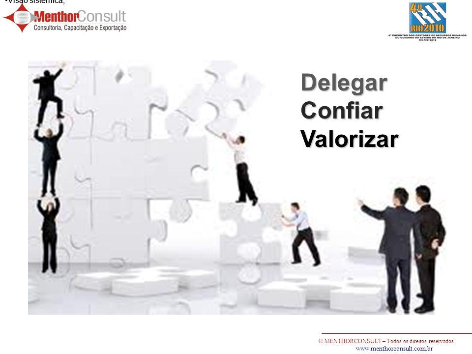 Delegar Confiar Valorizar Visão sistêmica; Visão sistêmica;