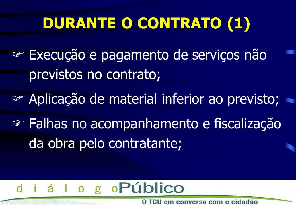 DURANTE O CONTRATO (1) Execução e pagamento de serviços não previstos no contrato; Aplicação de material inferior ao previsto;