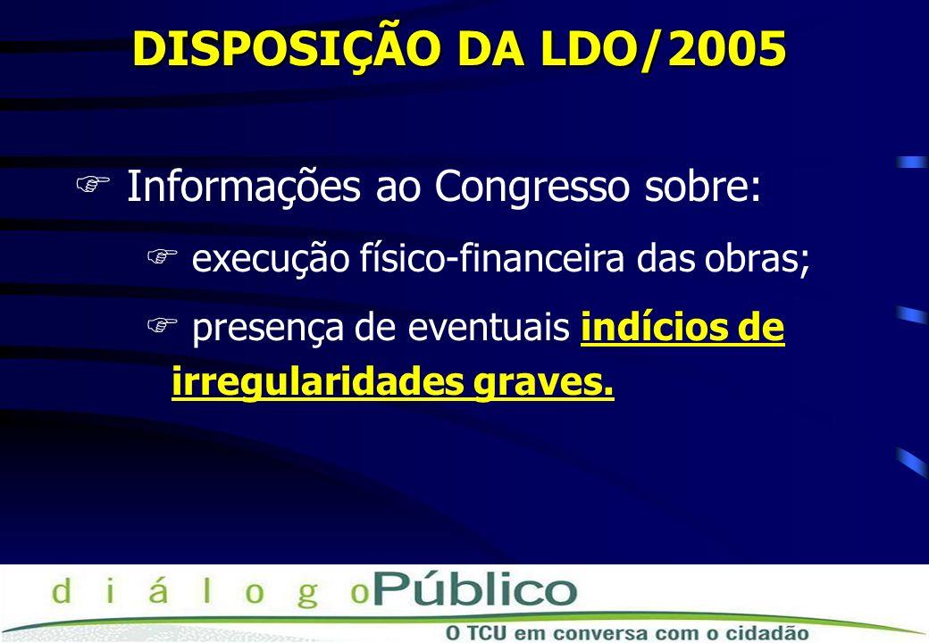 DISPOSIÇÃO DA LDO/2005 Informações ao Congresso sobre: