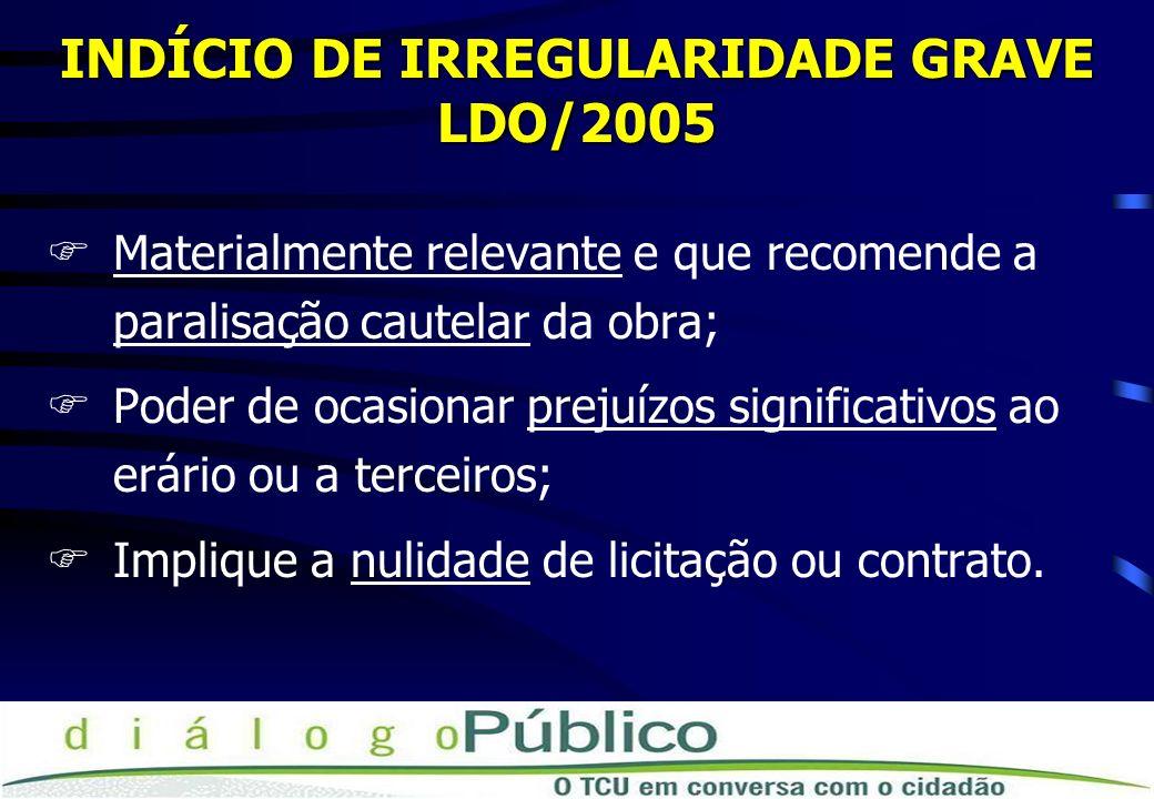 INDÍCIO DE IRREGULARIDADE GRAVE LDO/2005