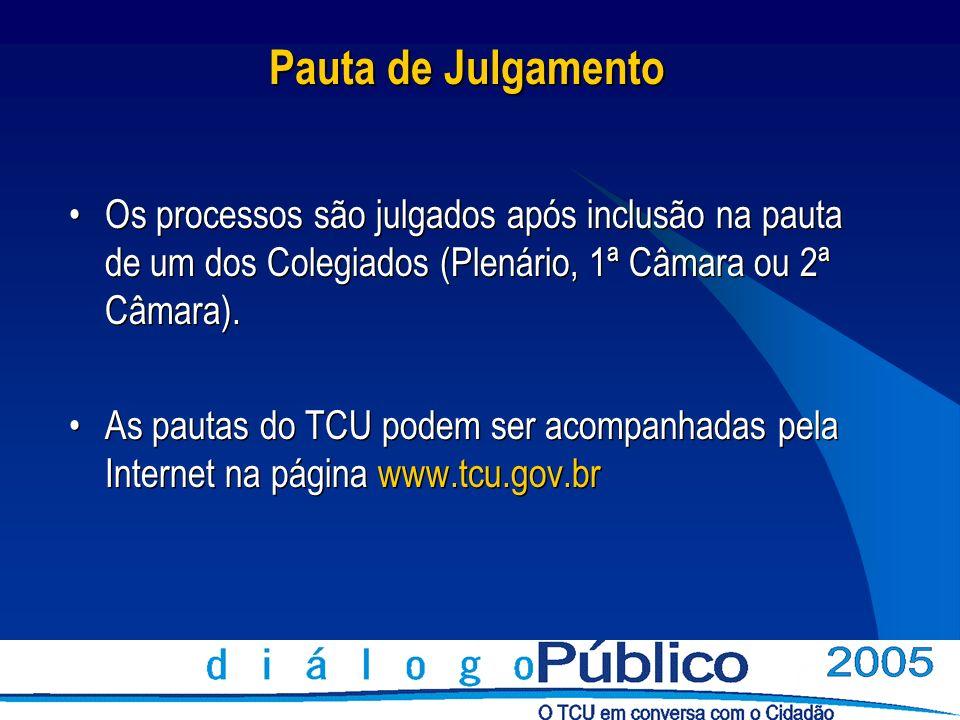 Pauta de JulgamentoOs processos são julgados após inclusão na pauta de um dos Colegiados (Plenário, 1ª Câmara ou 2ª Câmara).