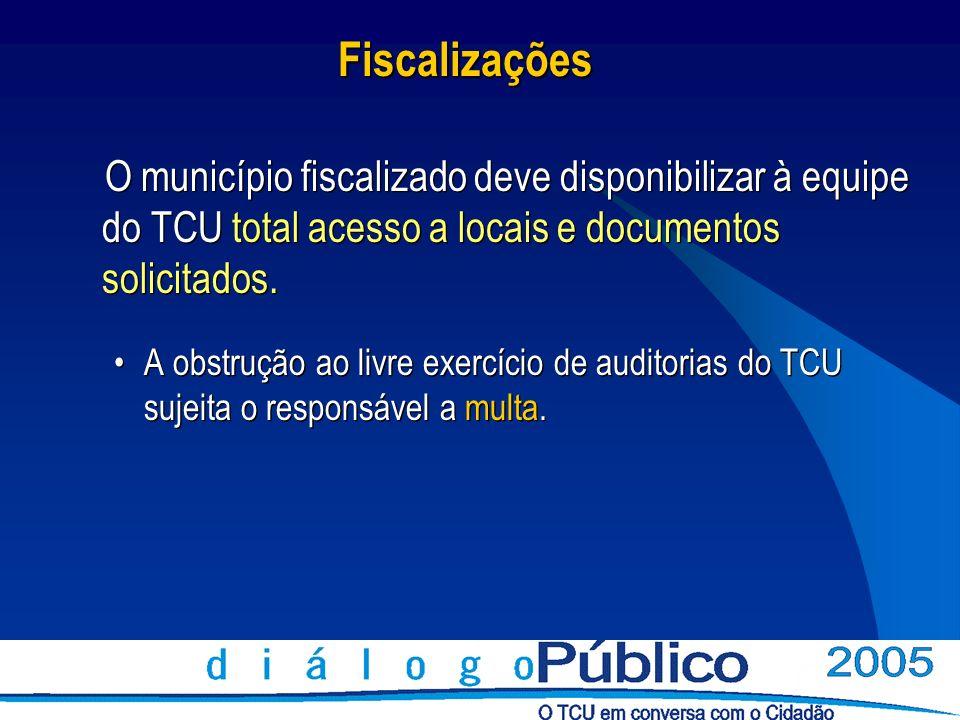 FiscalizaçõesO município fiscalizado deve disponibilizar à equipe do TCU total acesso a locais e documentos solicitados.