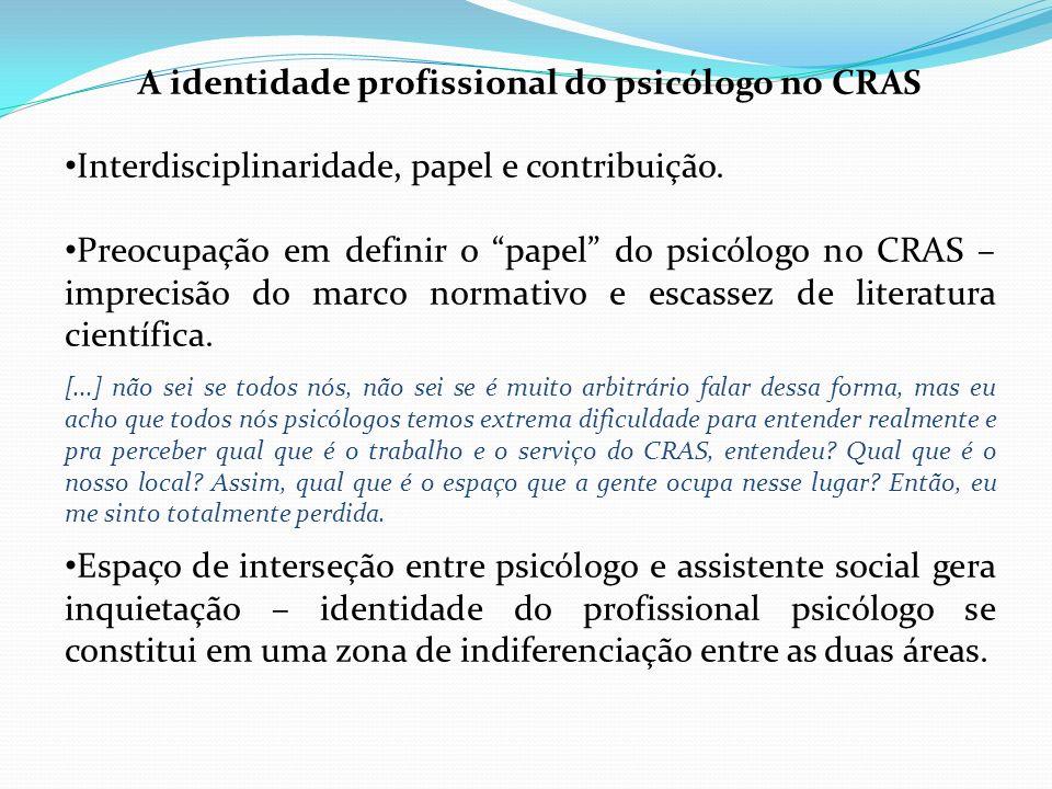 A identidade profissional do psicólogo no CRAS