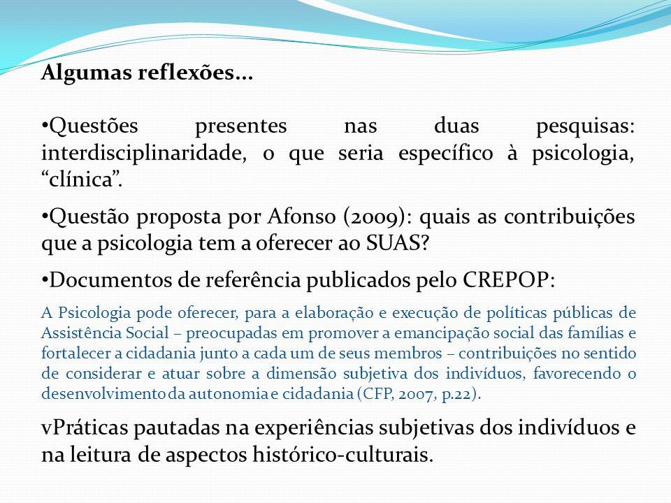 Documentos de referência publicados pelo CREPOP: