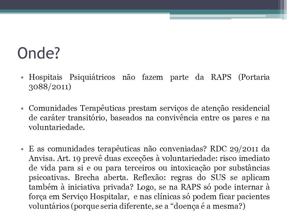 Onde Hospitais Psiquiátricos não fazem parte da RAPS (Portaria 3088/2011)