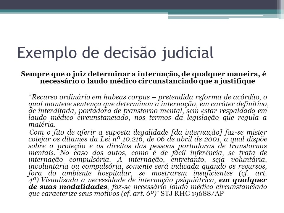 Exemplo de decisão judicial