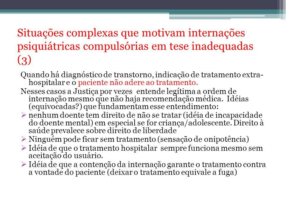 Situações complexas que motivam internações psiquiátricas compulsórias em tese inadequadas (3)