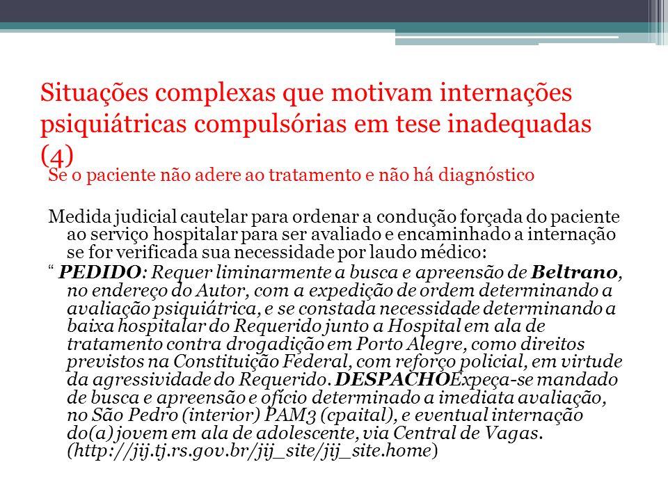 Situações complexas que motivam internações psiquiátricas compulsórias em tese inadequadas (4)