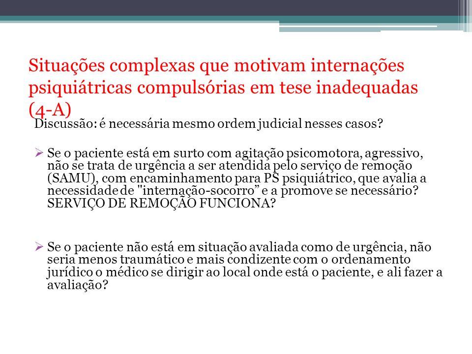 Situações complexas que motivam internações psiquiátricas compulsórias em tese inadequadas (4-A)
