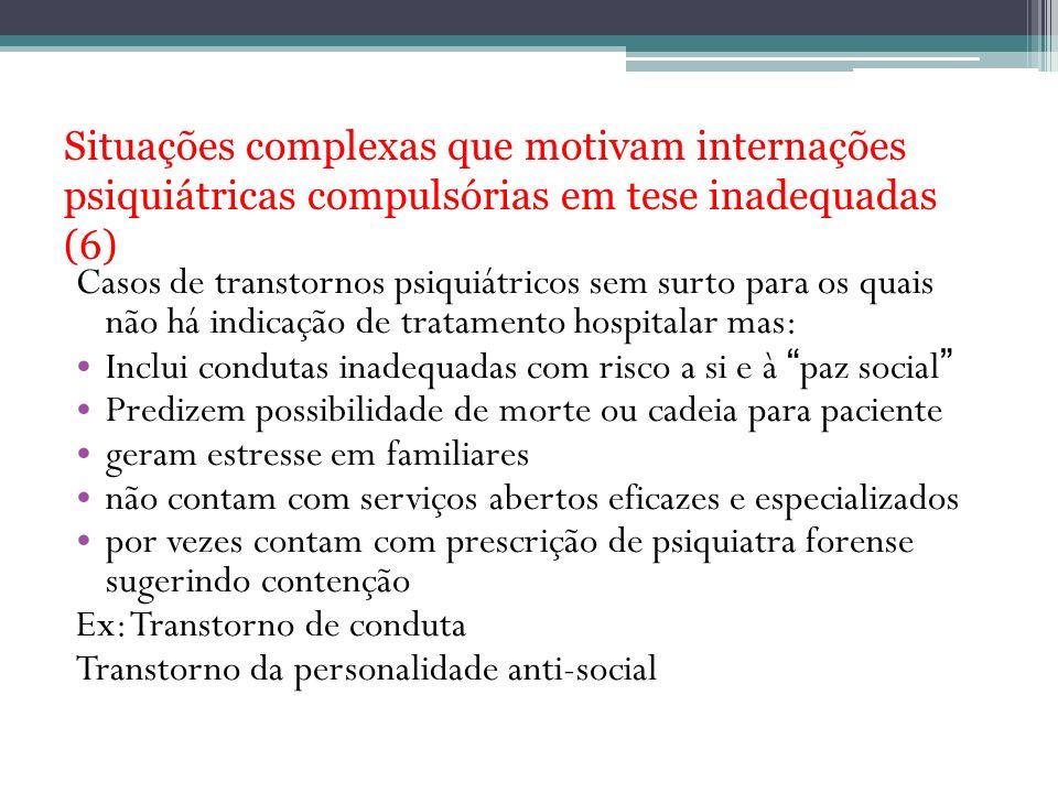 Situações complexas que motivam internações psiquiátricas compulsórias em tese inadequadas (6)