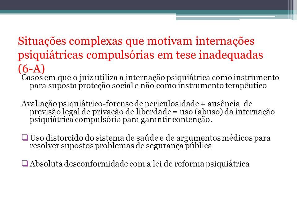 Situações complexas que motivam internações psiquiátricas compulsórias em tese inadequadas (6-A)