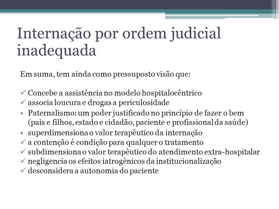 Internação por ordem judicial inadequada