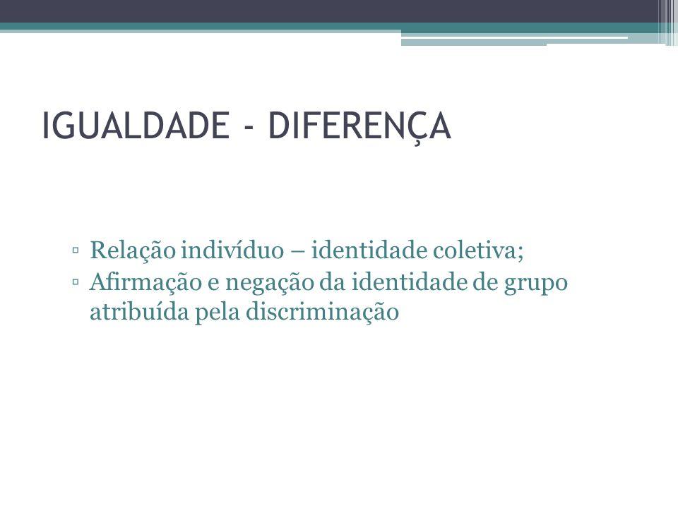 IGUALDADE - DIFERENÇA Relação indivíduo – identidade coletiva;