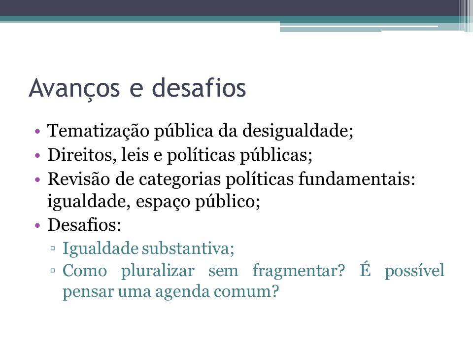 Avanços e desafios Tematização pública da desigualdade;
