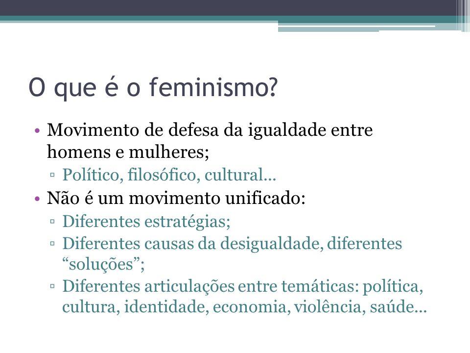 O que é o feminismo Movimento de defesa da igualdade entre homens e mulheres; Político, filosófico, cultural...