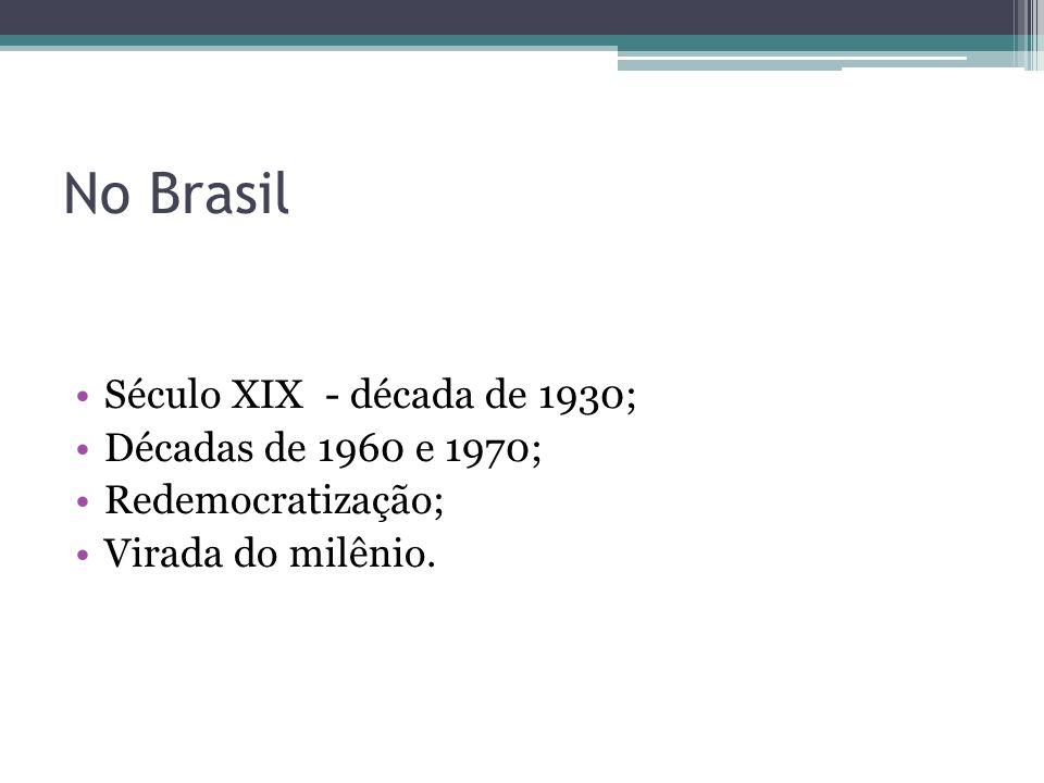 No Brasil Século XIX - década de 1930; Décadas de 1960 e 1970;