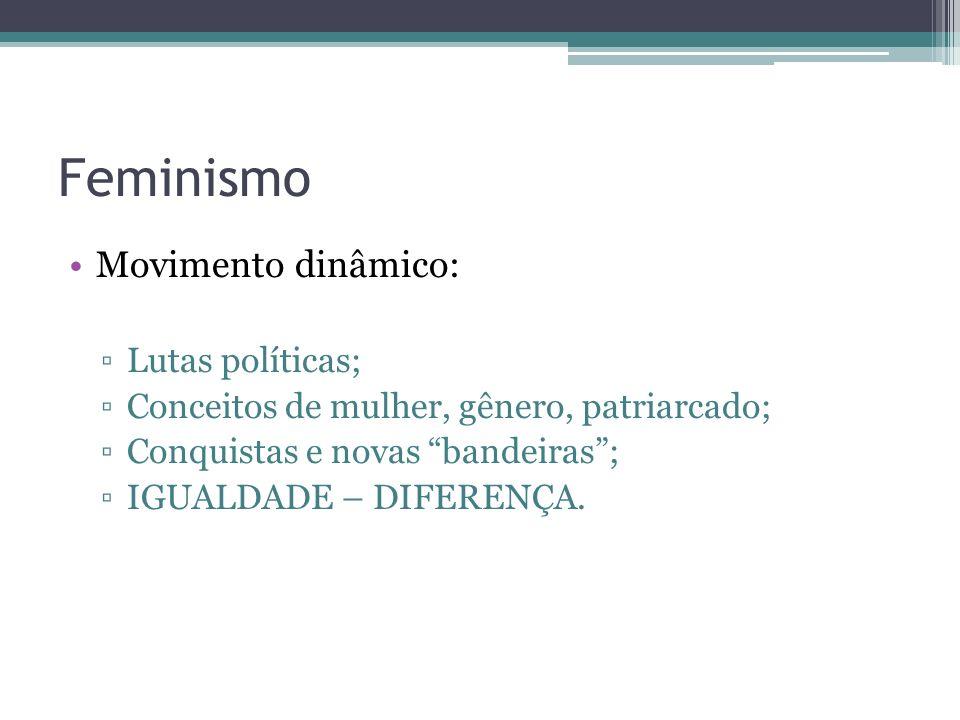 Feminismo Movimento dinâmico: Lutas políticas;