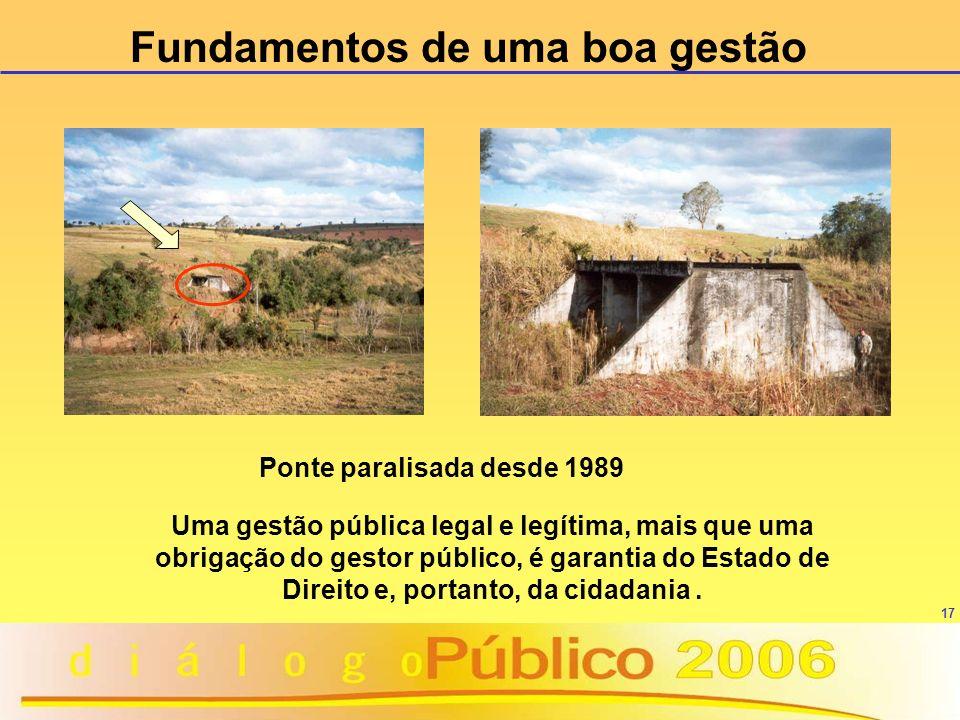 Fundamentos de uma boa gestão Ponte paralisada desde 1989