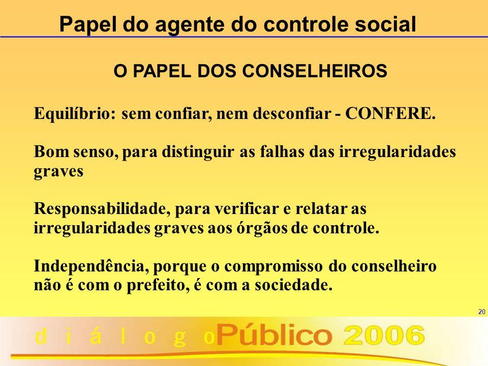 Papel do agente do controle social O PAPEL DOS CONSELHEIROS