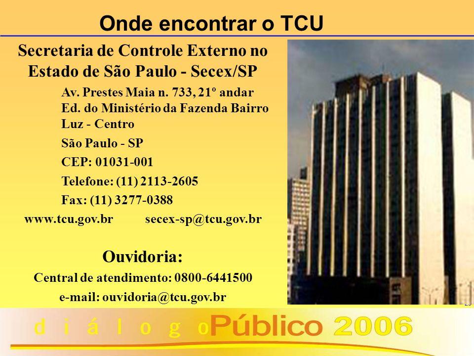 Onde encontrar o TCU Secretaria de Controle Externo no Estado de São Paulo - Secex/SP.