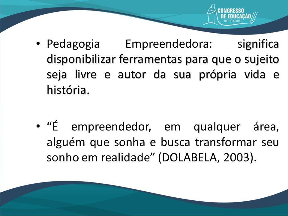 Pedagogia Empreendedora: significa disponibilizar ferramentas para que o sujeito seja livre e autor da sua própria vida e história.