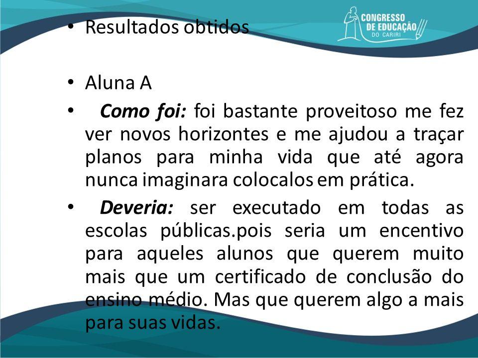 Resultados obtidos Aluna A.